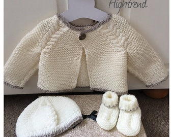 Baby cable cardigan hat and booties set