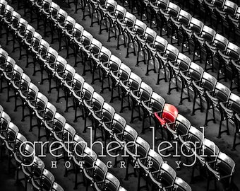 Fenway Lone Red Seat photo Black and White - Boston Red Sox decor, fine art photography, baseball, den, man cave, office, bar