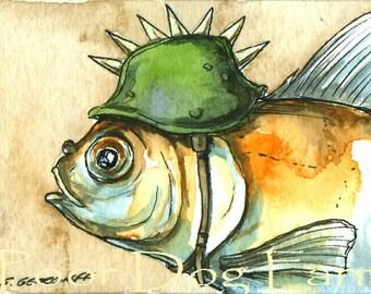 Goldfish in a  Spike Helmet  ~ watercolor print