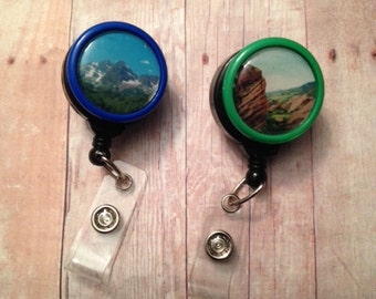 Mountain themed badge reel -- show your love of nature while wearing your ID