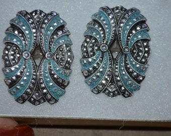 Unique!  Earrings 70 clips Marcasite/silver / turquoise