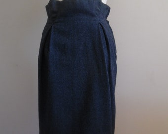Vintage SALE 1980s High Waist Charcoal Gray Wool Skirt by Leon Max was 12 dollars, nOW 8 dollars.