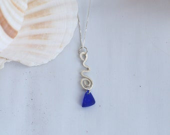 Sterling Silver and Cobalt Blue Seaglass NEcklace