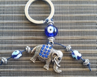 Elephant Keyring with Blue Beads