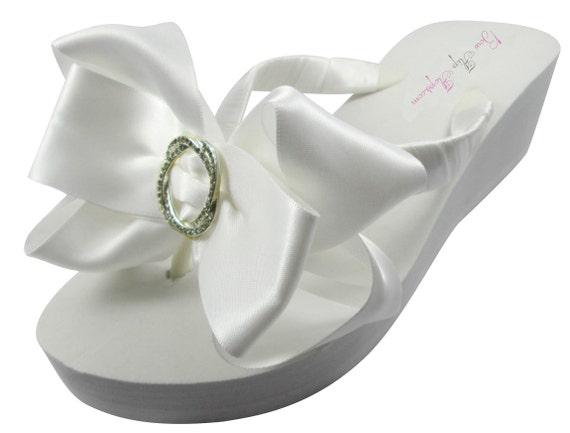 Ivory bridesmaids Flops Bridal Flip Flip Bow Flops gift Bling Satin Wedge Wedding heel White shower Rhinestone Bride Flat flower Platform E1EqZ