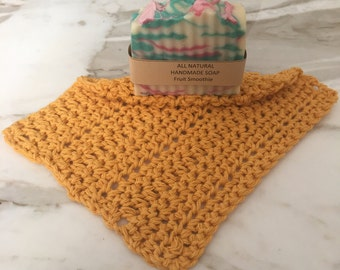 Fruit smoothie full size soap bar. Mustard color wash/dish cloth for any gift set. Bridal shower,  shower favors or birthday gift.
