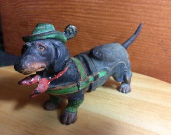 Vintage cold painted dachshund in lederhosen rare.
