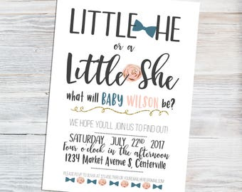 Gender Reveal Invitation - Little He Little She