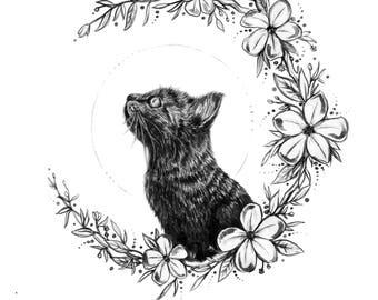 Black Cat Print, Floral Cat Print, A6 Print, Home Decor