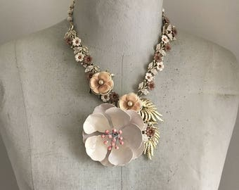 Floral Statement Necklace, Garden Necklace, Pastel Flower Necklace, Vintage Assemblage Necklace