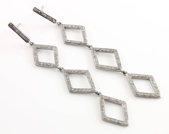 Pave Diamond Earrings, Pave Diamond Marquise Link Earrings, Diamond Marquise Chain Earrings, Diamond Earring, Oxidized Silver, (DER-096)