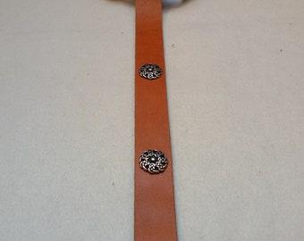 Middle Ages-belt ring-belt cognac-Brown 154 cm 4 knots-rivets 100% full-cowhide leather LARP role Play