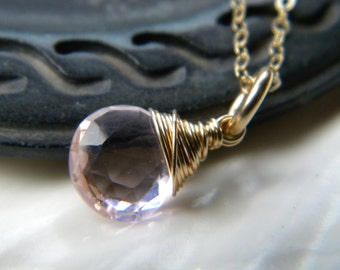 Pink soft pastel quartz faceted briolette solitaire necklace - gold filled handmade jewelry