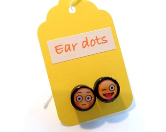 Cute Stud Earrings - Black - Wooden Earrings - Fun Emojis Studs