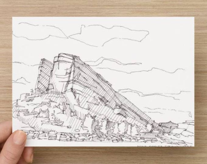 Ink Sketch of Red Rocks Amphitheater in Denver, Colorado - Drawing, Art, Concert, National Park, Front Range, Pen and Ink, 5x7, 8x10