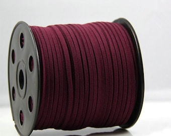 20Yds 3mm Burgundy Faux Leather Suede Cord