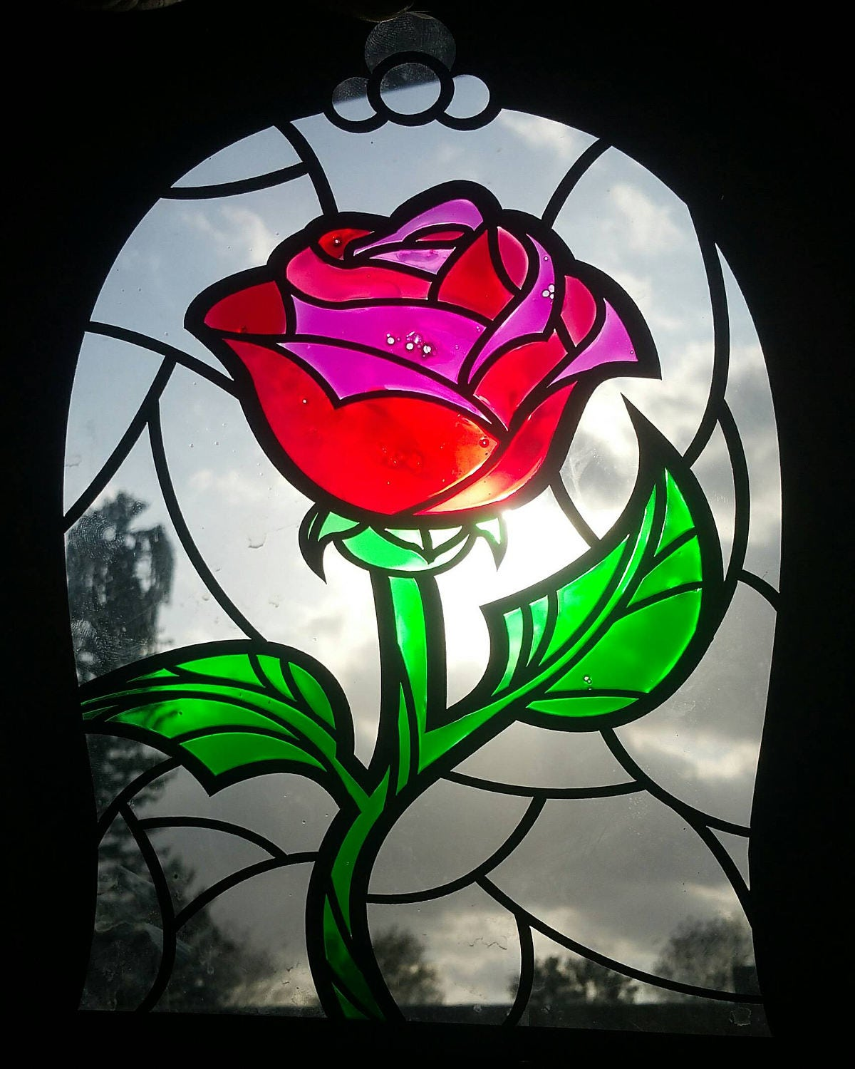 Disney Inspired Beauty The Beast Rose Imitation Stained