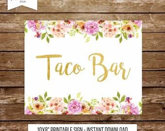Taco bar sign wedding tacos sign wedding sign table wedding party fiesta wedding sign floral wedding party fiesta party printable sign 237