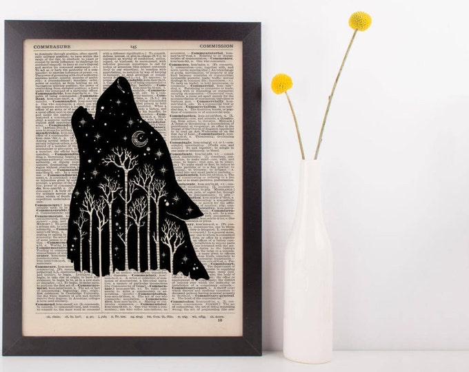 Featured listing image: Wolf Forest Dictionary Print
