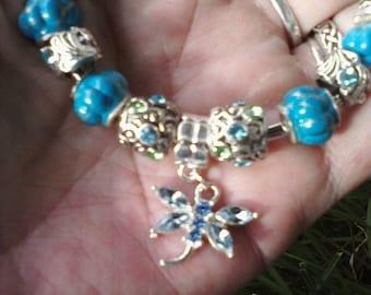 Flutter by Dragonfly, in rich blues, Euro style bracelet