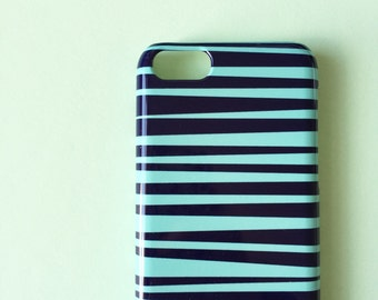 Blue and green stripes phone case / iPhone X / iPhone 8 / Stripy iPhone 7 case / iPhone 6 / iPhone 5/5S, Se / Samsung Galaxy S7 / Galaxy S6