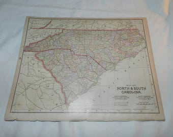 N +S Carolina / Michigan Maps from 1892 New Popular Atlas of the World - 1 Book Page Ready to frame -Vintage Collectible Ephemera Art 31-144