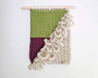 Wall Weaving, Woven Wall Hanging, Textured Wall Hanging, Green and Purple Weaving, Wool Tapestry, Handwoven Wall Art,  Woven Modern Wall Art