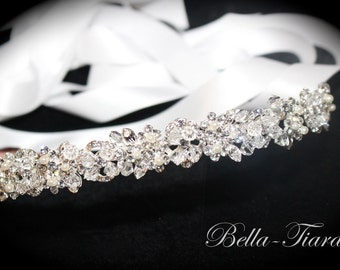 swarovski crystal wedding headband, wedding crystal headpiece, pearl crystal wedding headband, bridal headband