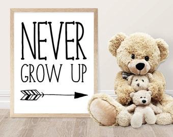 Nursery Printable - Never Grow Up Quote - Kids Room Decor - Nursery Decor - Baby Shower Gift - Typography Print - Wall Art - Quote Print