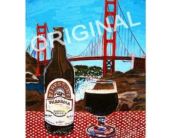 Parabola Imperial Stout Beer Painting, Firestone Walker Brewing, San Francisco Art, Golden Gate Bridge Painting, California Beer Bar Art