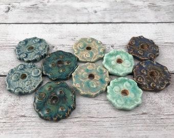 Ceramic Beads - One Pair - Nest Fester Design - Earring Sized Pairs - Ready to Ship - Marsha Neal Studio - Handmade Beads