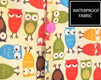 LAMINATE WATERPROOF Fabric, Sleepy Owls , by Yard