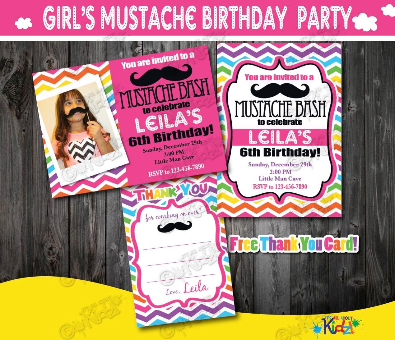 Girl Mustache Party invitationMustache Birthday