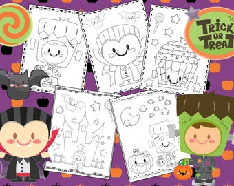 Halloween Frankenstein and Dracula Coloring Pages - The Crayon Crowd, cute, printable, party, party favors, Coloring book, Sheets, kids, pdf