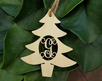 Initial Christmas Ornament - Christmas Tree Decor - Wooden Ornament - Rustic Ornament - Personalized Ornament