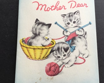Vintage Birthday Greeting Card, for mother, 3 kittens & yarn, Norcross