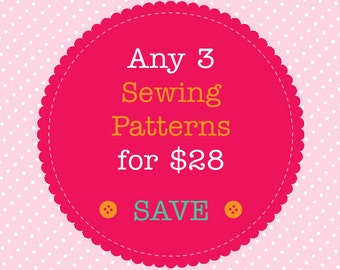Sewing Pattern Bundle - Save When You Buy 3 PDF Sewing Patterns. Multiple Purchase Discount. You Choose Patterns
