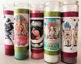 Prosperity Candle   7 day LAKSHMI Goddess candle   Wealth, Fortune, Money   Loaded Fixed Candle   Seven day candle for prosperity