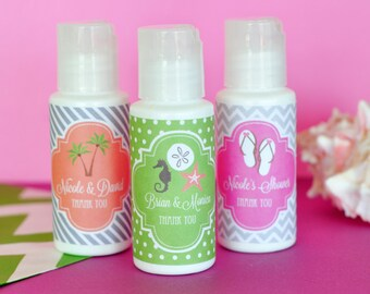 Beach Bridal Shower Favors - Beach Theme Bridal Shower Favors - Personalized Sunscreen Favor for Beach Theme Wedding (EB2030Z)- set of 12|