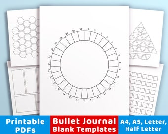 20 Bullet Journal Template Printables, Bullet Journal Printables, Bujo Trackers, Calendar Template, Daily Log, Digital Planner Inserts