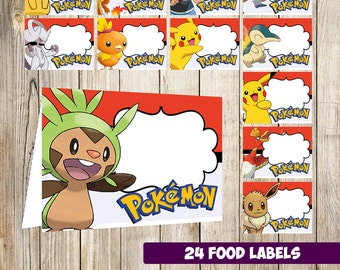 24 Pokemon Food Tent Cards instant download, Printable Pokemon Labels, Pokemon labels party printable
