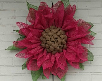 Fuschia/Pink Poly Burlap Flower Wreath - Spring Wreath - Summer Wreath - Pink Sunflower Wreath
