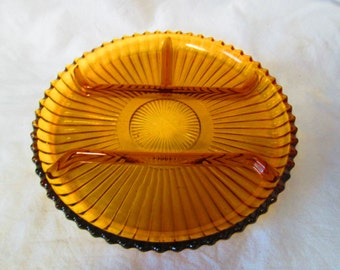 Vintage Amber Glass Divided Plate Serving Tray snack plate