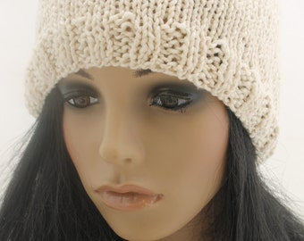 Knitted Cotton Beanie Hat. Cream. Slouchy.
