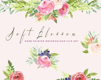Soft Blossoms Watercolour Clip Art