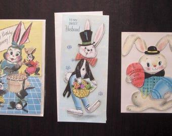 Lot of 3 Vintage Easter Cards - Daddy, Mommy, Husband - Unused with Original Envelopes