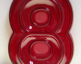 Vintage Translucent Red Plastic Marquee Number 8 Wall Hanging 10 inch tall by 7 inch wide