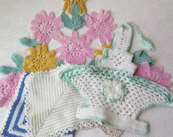 1930s Crocheted Baskets Pot Holders Vintage  Easter Springtime Pink Green Blue White Cotton Handmade Crafts Apron Pillows Mother's Day Gift