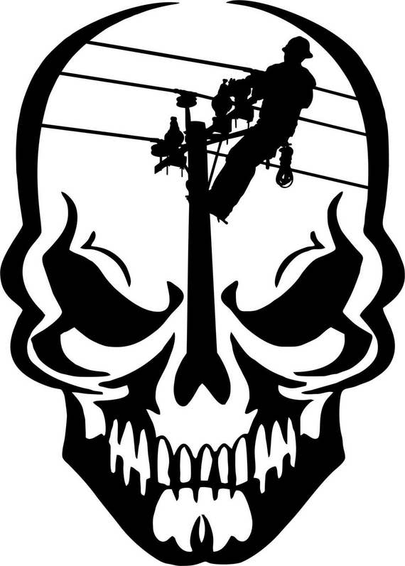 Lineman Skull Electrician Linemen Power Pole Car Truck Window