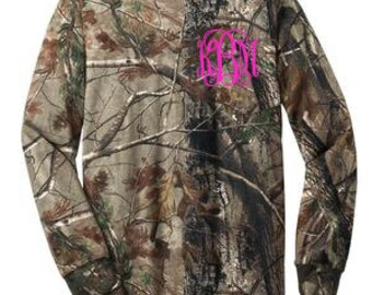 Monogrammed Long Sleeve Camo T Shirt monogram